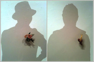 David & Steve's shadows at Bruce Metcalf's show at Snyderman/Works Gallery, 2012