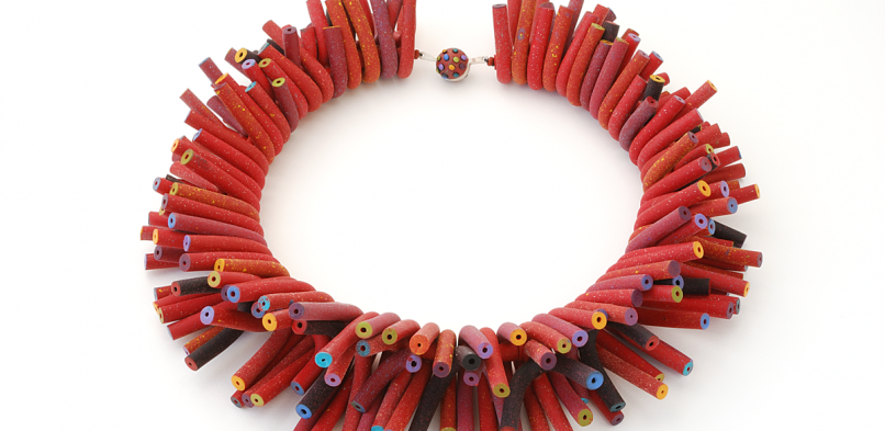 Tube Necklace (064) ,2014 ,polymer & sterling