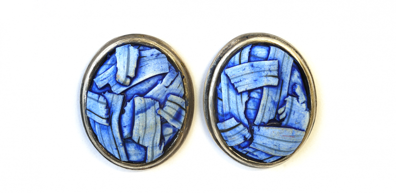 Button Earrings (080),2014 ,polymer & sterling