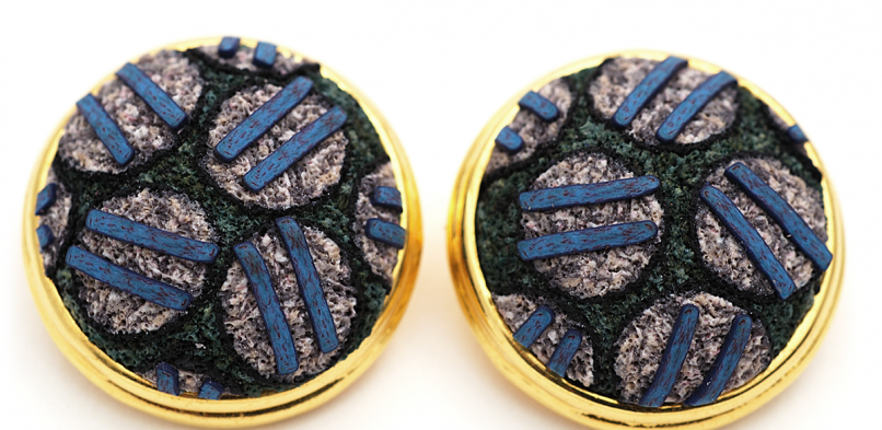 Button Earring (65),2009, polymer, gold & sterling
