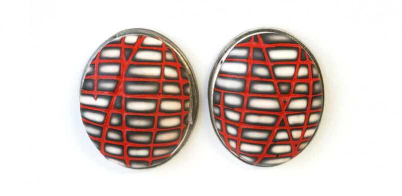 Button Earring (73),2014, polymer & sterling