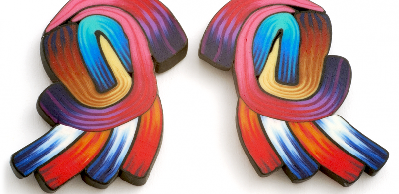 Cane Earring (64),1995, polymer