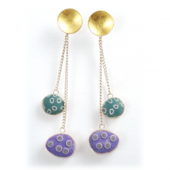 Pebble Earrings (127),2012, polymer, sterling and gold leaf