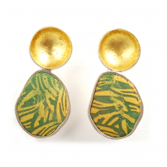Pebble Earrings (130),2012, polymer, sterling & gold leaf