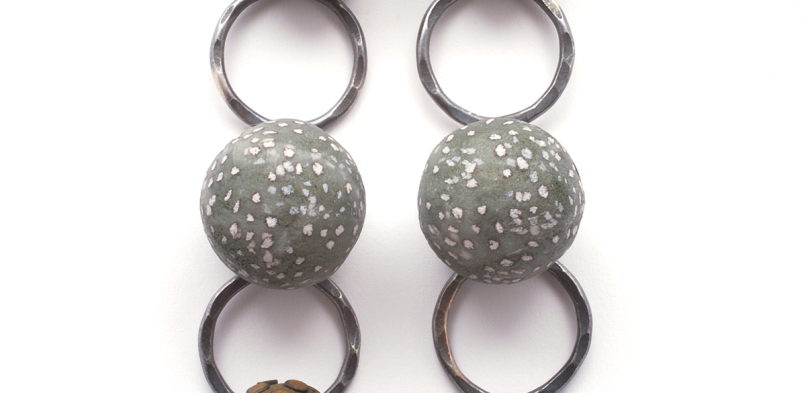 Satellite Dange Earrings (1),2008, polymer & sterling