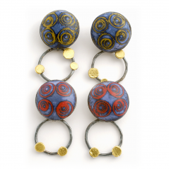 Satellite Earrings (8),2010, polymer, sterling & gold leaf