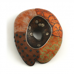 Center Pin (24),2005, polymer, sterling, copper & gold leaf