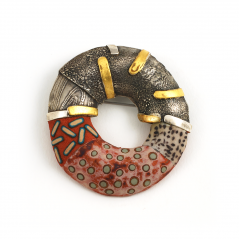 Hydro Pin (53), 2007, polymer, sterling & gold leaf