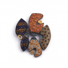 Rock Pin (35),2002, polymer, sterling & 22K gold