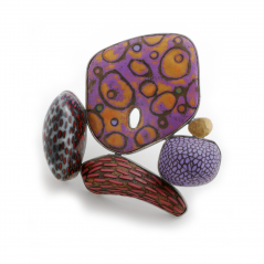 Rock Pin (114),2007, polymer, 22K gold & sterling