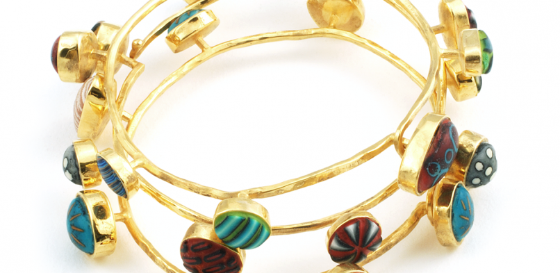 Pebble Bangles (2), 2010, polymer &  gold
