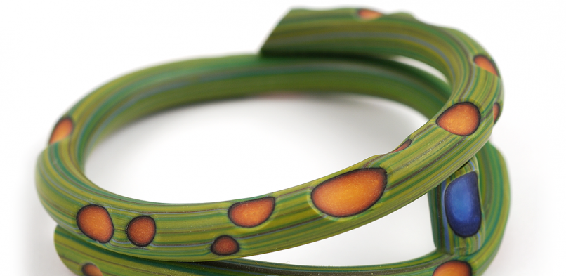 Tube Bangle (20), 2014, polymer, $200. SOLD
