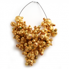 Bubble Cascade Necklace (2), 2003, polymer, gold leaf & sterling cable