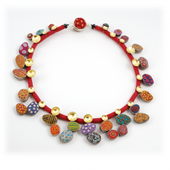 Pebbles Necklace (12), 2012, polymer, sterling & gold leaf
