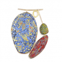 Pebbles Pendant (35), 2013, polymer, sterling & 22K gold