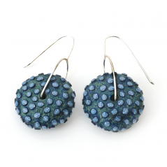 Ball Earring (011), 2015, polymer & sterling, 1 1/4 x 1 1/4 x 2 1/4″, $250.