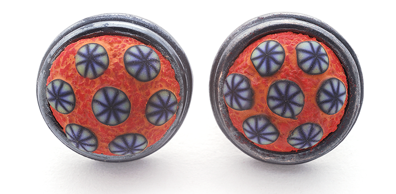 Button Earring (136), 2015, polymer & sterling, gold posts, 3/4 x 3/4x 1/2″, $200.