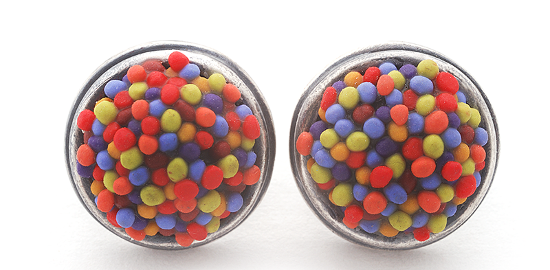 Button Earring (171), 2016, polymer & sterling, 3/4 x 3/4x 1/2″, $200.