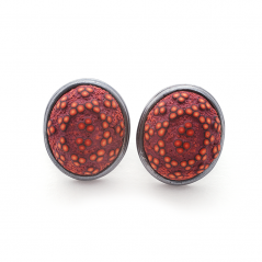 Button Earring (181), 2016, polymer & sterling, 1x 1 1/4 x 1/2″, $250.