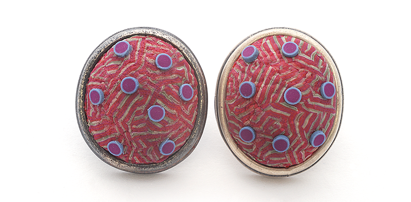 Button Earring (193), 2016, polymer & sterling, 1x 1 1/4 x 1/2″, $250.