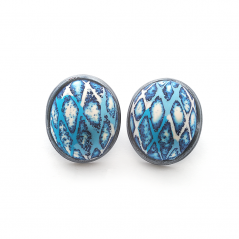 Button Earring (195), 2016, polymer & sterling, 1x 1 1/4 x 1/2″, $250.