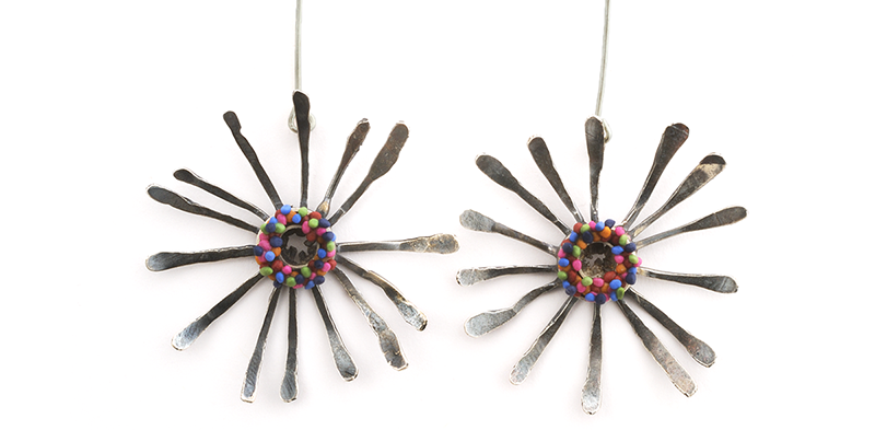 Calder Earrings (008), 2012, polymer & sterling, 1 3/4 x 1 3/4 x 1/2″, $450.