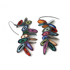 Chip Earrings (008), 2015, polymer & sterling, 3/4  x 3 1/4 x 1/4″, $550.