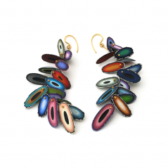 Chip Earrings (009), 2015, polymer & 22K gold, 11/2  x 3 1/4 x 1/4″, $1500.