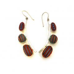 Pebble Earrings (190), 2016, polymer & sterling, 3/8 x 2 x 1/4″, $300.