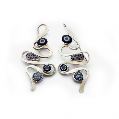 Pebble Earrings (194), 2016, polymer & sterling, 1 3/8 x 2 3/4 x 3/8″, $300 SOLD