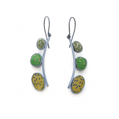Pebble Earrings (200), 2016, polymer & sterling, 3/8 x 2 x 1/4″, $300.