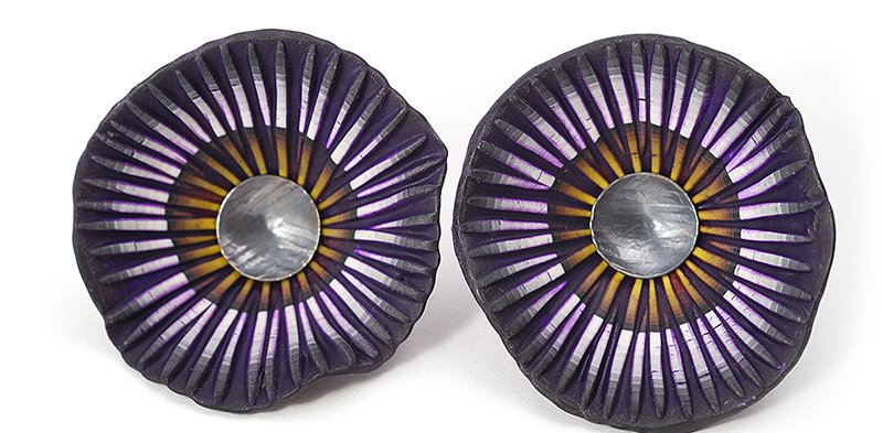 Shell Earrings (123), 2013, polymer & sterling, gold posts, 1 3/4 x 1 3/4 x 1/2″, $250. SOLD