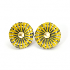 Shell Earrings (139), 2013, polymer & sterling, gold leaf, gold posts, 1 x 1 x 1/2″, $200.
