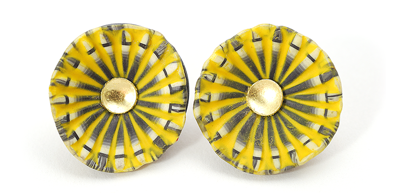 Shell Earrings (139), 2013, polymer & sterling, gold leaf, gold posts, 1 x 1 x 1/2″, $200. SOLD