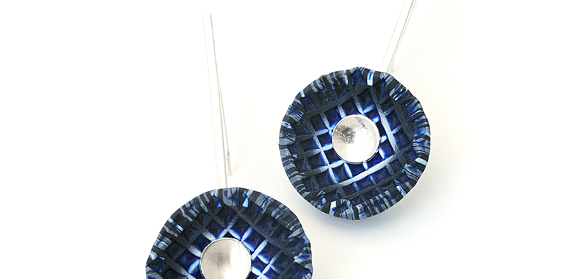 Shell Earrings (182), 2014, polymer & sterling, 1 x 2 1/8 x 1/2″, $200. SOLD