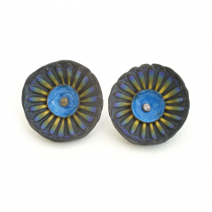 Shell Earrings (202), 2014, polymer, enamel & sterling, gold posts, 1 x 1 x 1/2″, $200.