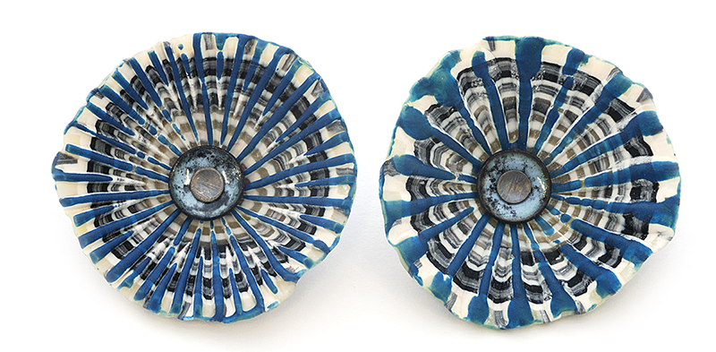 Shell Earrings (218), 2016, polymer, enamel, & sterling, 1 3/4 x 1 3/4 x 1/2″, $300.