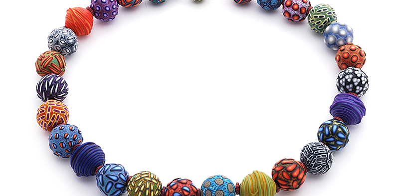 Big Bead Necklace (140), 2015, polymer & sterling, 3/4 x 3/4 x 21″, $2700. SOLD