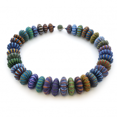 Big Bead Necklace (149), 2016, polymer & sterling, 2 x 2 x 27″, $3900.