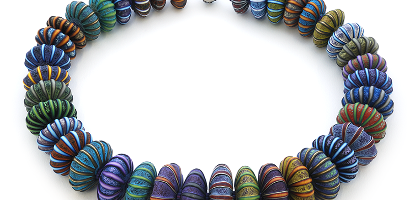 Big Bead Necklace (149), 2016, polymer & sterling, 2 x 2 x 27″, $3900.  SOLD