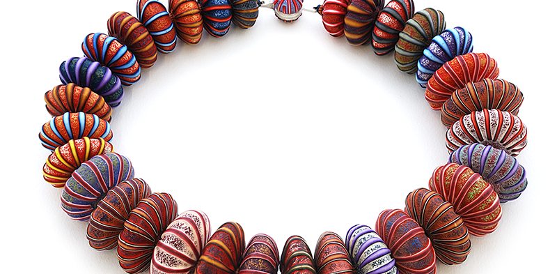 Big Bead Necklace (150), 2016, polymer & sterling, 2 x 2 x 22 1/2″, $3200.