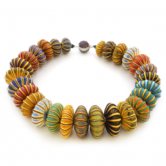 Big Bead Necklace (152), 2016, polymer & sterling, 1 3/4 x 1 3/4 x 19″, $3500. SOLD