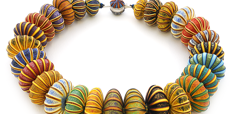 Big Bead Necklace (152), 2016, polymer & sterling, 1 3/4 x 1 3/4 x 19″, $3500.