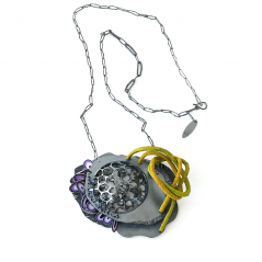 Chip Necklace (001), 2014, polymer, sterling, 3 1/2 x 2 1/2 x 1 1/2″, 1900.
