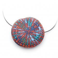 Single Pillow Bead on Cable (059), 2015, polymer & sterling, 2 1/2 x 2 3/8 x 1/2″, $350.