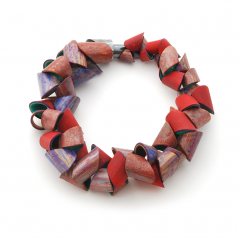 Tube Necklace (088), 2015, polymer & sterling, 2 x 2 x 21 1/4″, $6000.