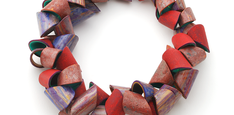 Tube Necklace (088), 2015, polymer & sterling, 2 x 2 x 21 1/4″, $6000. SOLD