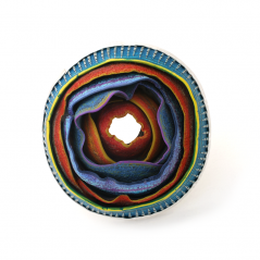 O'Keeffe Pin (131), 2015, polymer & sterling, 3 1/8 x 3 1/4 x 1″, $375.