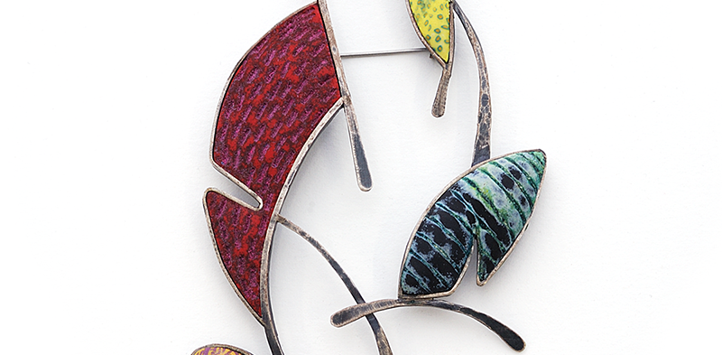 Shape Pin (022), 2015, polymer & sterling, 3 x 4 1/2 x 3/8″, $1200. SOLD