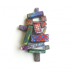 Stacked Pin (001), 2015, polymer & sterling, 2 3/4 x 4 3/4 x 1″, $1800.